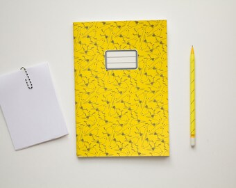 Patterned Spring Notebook  - School notebook -  Yellow bird