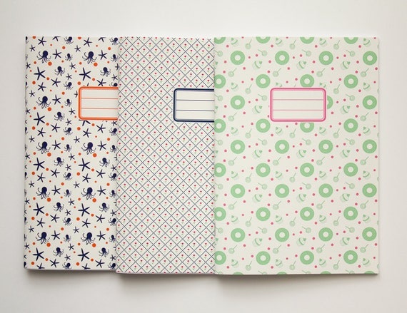 Pack of 3 custom notebooks - School supplies - Back to school -  10 patterns available