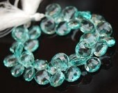 1/2 strand of green amethyst color hydro quartz  heart briolettes