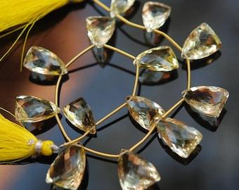 AAA quality 1/2 strand  FACETED lemon quartz triangle