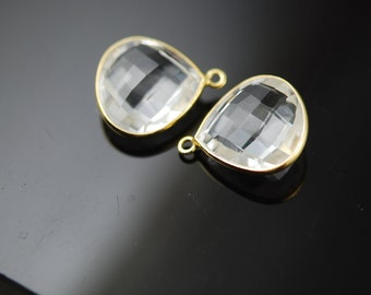 2 Clear quartz drops vermeil 25. ON SALE 22.00