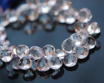 Faceted clear quartz hearts