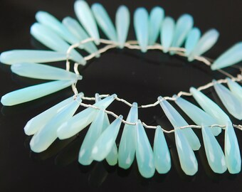 Light aqua faceted long drop 12.00