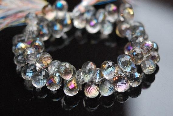 Rock crystal with mystic rainbow coating