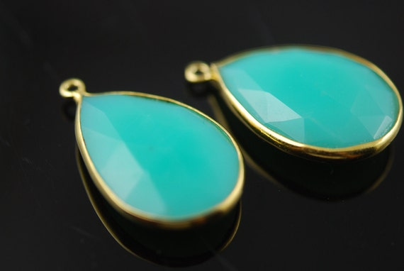 Turquoise color  connector in vermeil  2 pieces