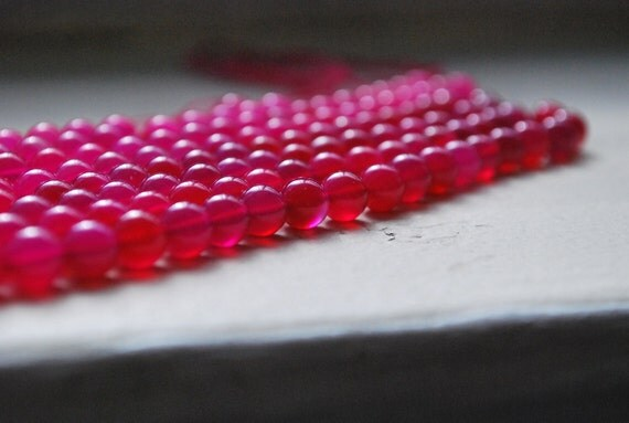 Hot pink smooth polished round beads
