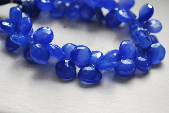 1/2 Strand of Electric blue chalcedony hearts WHOLESALE PRICE 22.00