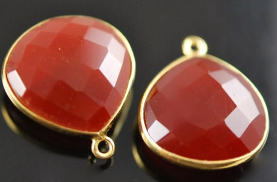 2 matching amber chalcedony Connector Vermeil  SALE 18.00