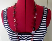 Vintage Button Necklace - Red Wine