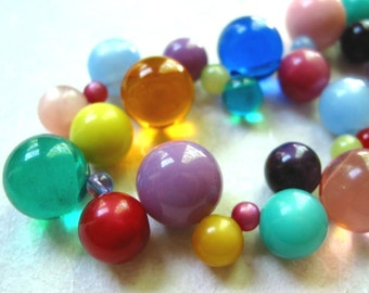 Rainbow Vintage Lucite Bubbles Necklace