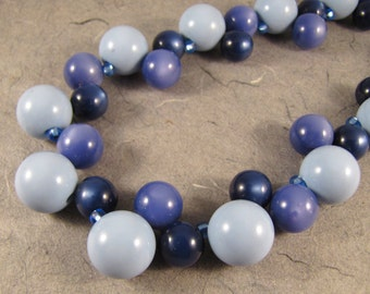 Blue Vintage Lucite Bubbles Necklace
