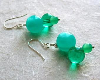 Aqua and Emerald Vintage Lucite Earrings