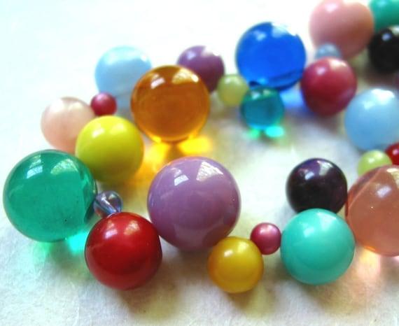 Rainbow Vintage Lucite Bubbles Necklace
