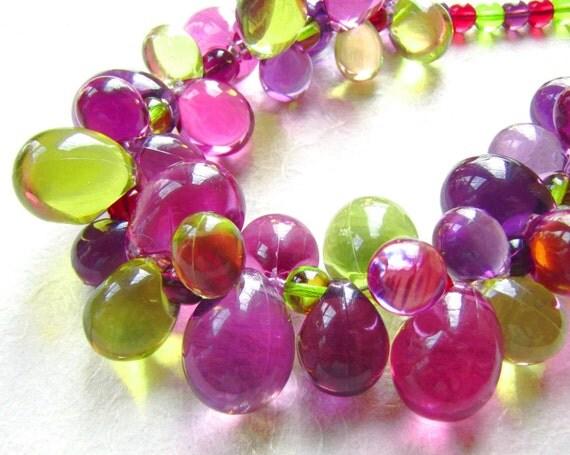 Purple, Green and Fuchsia Bubbles Necklace