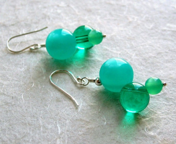 Aqua and Emerald Vintage Lucite Earrings