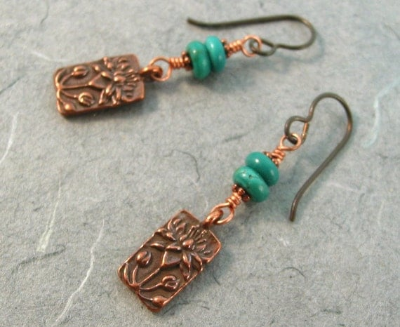 Turquoise and Copper Lotus Earrings