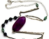 Amethyst, agate and Sugilite purple necklace
