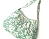SALE - Pleated Shoulder Bag - Sea Foam Green Blue with Ivory Cream Flowers and Leaves