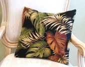 """Tropical Leaves on Black Pillow Cover 18"""""""