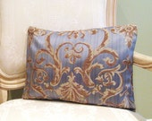 Pillow Cover 12 x16 inch Gold and Brown Scrolls on Silver Grey Blue