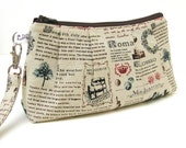 Clutch Purse Rectangle Wristlet - World Travel Landmarks in Red and Natural