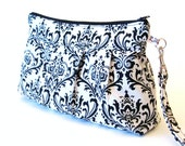 Clutch Purse Zippered Wristlet  Madison Damask in White and Black