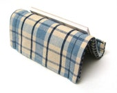 Fabric Business Card Holder or Stand Reversible Blue Plaid and Checks