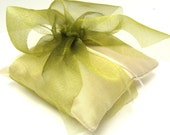 Bridal Wedding Ring Pillow in Chartreuse Green Bow on Ivory Cream Satin