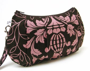 On Sale Bridesmaid Clutch Purse Pleated Wristlet  Pink Chocolate Brown Damask Kitty Yoshida
