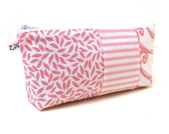 ON SALE Zipper Pouch Clutch Purse - Patchwork Swirls and Stripes in Pink and White