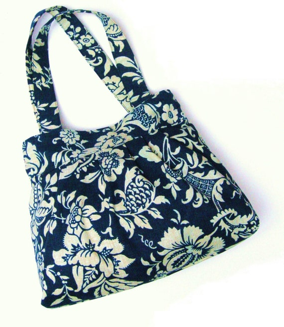 SALE - Pleated Shoulder Bag Natural Cream Flowers on Navy Blue