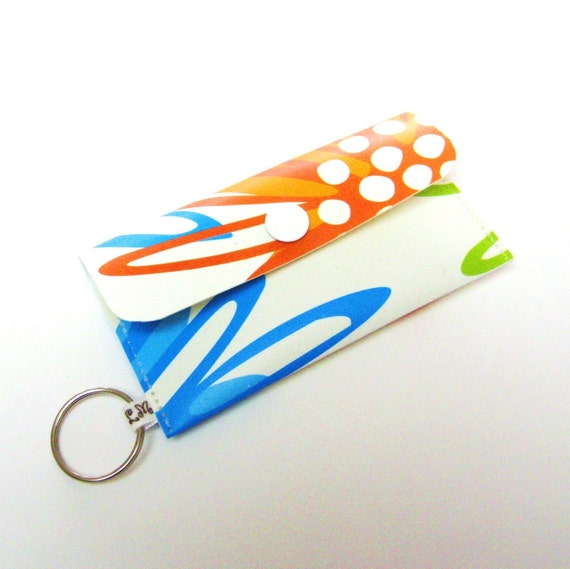 Card Holder Card Case Small Purse Graphic Florals in Orange and Blue
