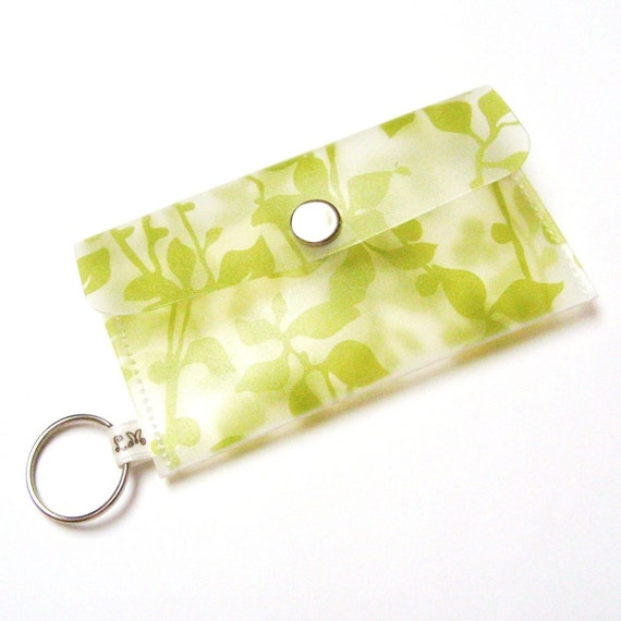 Business Card Holder Card Case Small Purse Khaki Olive Green Leaves