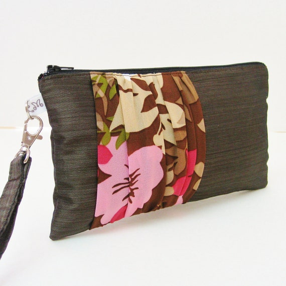 Bridesmaid Clutch Purse Rectangle Wristlet Ruched Pink Flowers on Dark Brown Taupe