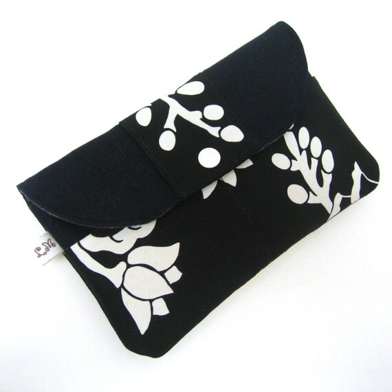 Passport Wallet Zipper Purse - White Flowers on Black and Navy