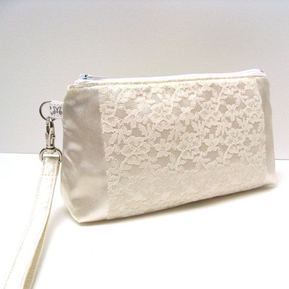 Clutch Purse, Rectangular Wristlet, Bridal, Bridesmaid Clutch - Lace on Ivory Cream Satin