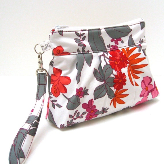 Zippered Wristlet Clutch Purse - Flowers and leaves in Orange Pink Red Grey on White
