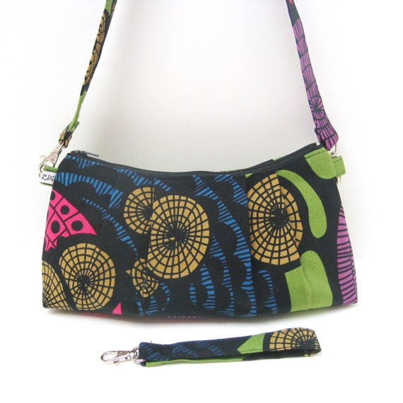 Shoulder Bag: Blue Pink Yellow Circle Graphics on Green