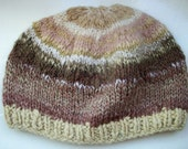 Handspun wool  chunky textured natural undyed beige, coffee and cream mix unisex beanie hat