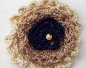 Knitted silk flower corsage - Coffee and cream
