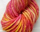 Hand painted merino alpaca yarn - 100g scarlet red yellow Sunrise by SpinningStreak