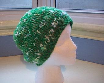 Handspun, hand dyed wool and silk chunky textured emerald green mix unisex beanie hat