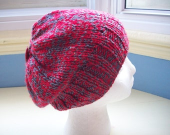 Fun slouch beanie hat knit child teen small adult red gray