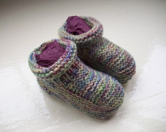 Baby booties - soft knit hand painted green, cream, burgundy modern colours