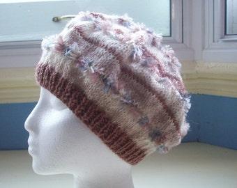 Zany beret - hand knit caramels and cream