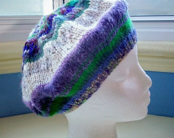 Knit hat, violet beret, tam, small to medium, violet cream emerald green
