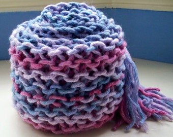 Knit cotton scarf soft long chunky hand dyed blue pink