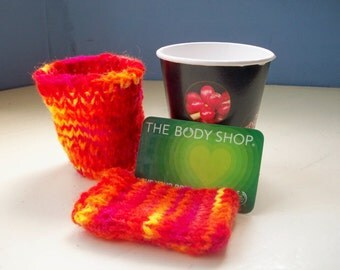 Mug cozy and travel card case knit fun bright by SpinningStreak