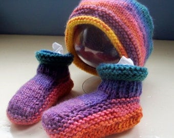 Baby hat booties vegan bright fun set 6 to 9 months approx