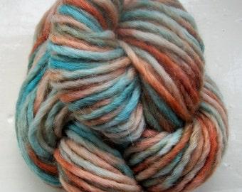 Hand painted merino alpaca yarn 100g brown turquoise